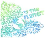 Ame os Doodles esboçado do caderno do planeta Fotografia de Stock Royalty Free