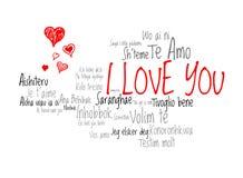 Ame palavras eu te amo na língua diferente do mundo com corações do amor Fotos de Stock Royalty Free