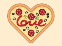 Ame para el diseño de concepto de la forma del corazón de la pizza para el día de tarjetas del día de San Valentín Vec foto de archivo