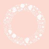 Ame pássaros e floresça o fundo brilhante decorativo da beira do quadro do círculo da natureza Fotografia de Stock