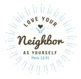 Ame seu vizinho como o senhor mesmo ilustração royalty free