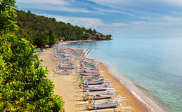 Amed. Volcano Agung and Amed beach, Bali, Indonesia Stock Image