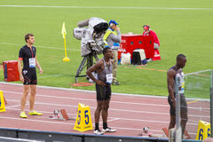 Ameer Kenneth Webb. Getting ready for 200m race on Diamond League in Rome, Italy in 2016 Stock Photos