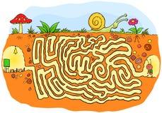 Ameise, die zum Schullabyrinthspiel für Kinder geht Lizenzfreies Stockbild