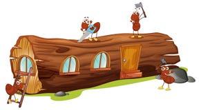 Ameisen und ein hölzernes Haus stock abbildung
