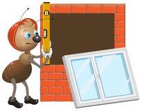 Ameisenarbeitskraft Installierung des Plastikfensters lizenzfreie abbildung