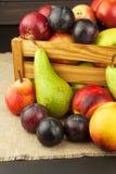 Ameixa e maçãs na tabela de madeira Autumn Fruits Colheita do outono na exploração agrícola Uma dieta saudável para crianças Fotografia de Stock