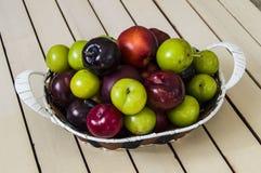Ameixa japonesa e cereja vermelhas na cesta, ameixas diferentes das cores na cesta Fotografia de Stock Royalty Free