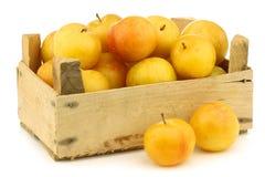 Ameixas amarelas frescas em uma caixa de madeira fotos de stock royalty free