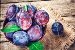 Ameixas azuis e violetas na tabela de madeira Imagem de Stock