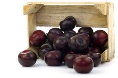Ameixas frescas em uma caixa de madeira imagem de stock royalty free
