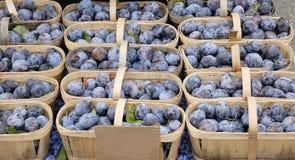 Ameixas frescas em uma cesta no mercado do fazendeiro Fotos de Stock
