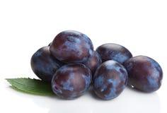 Ameixas frescas isoladas Fotos de Stock