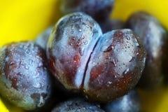 Ameixas maduras na placa Fotos de Stock
