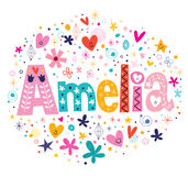 Amelia female name decorative lettering type design Royalty Free Stock Photos