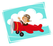 Amelia Flying. Cute cartoon of Amelia Earhart flying in her red plane. Eps10 Royalty Free Stock Images