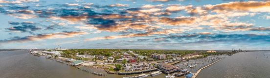 Amelia Islan, Fernandina Beach, Florida. Aerial panoramic view a. T sunset royalty free stock photo