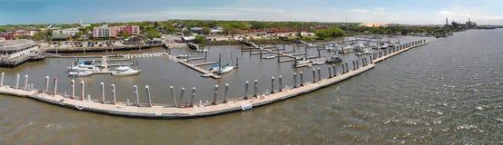 Amelia Islan, plage de Fernandina, la Floride Vue panoramique aérienne a Image libre de droits