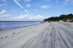AMELIA ISLAND, FLORIDA, EUA - 22 de outubro de 2017: Praia-vida na praia de Fernandina em Amelia Island fotografia de stock royalty free
