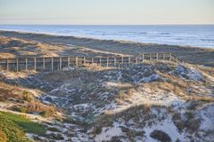 Sand dunes and wooden walkway to ocean royalty free stock photos