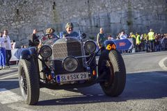 Amelia, Italy, May 2018. Mille Miglia 1000 Miles, historical vintage car race. Two men driving a historic Mercedes Benz. On the royalty free stock images