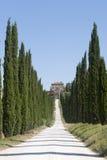 Amelia (Ombrie, Italie) - vieux villa et cyprès Image stock