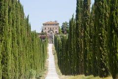 Amelia (Ombrie, Italie) - vieux villa et cyprès Photos libres de droits