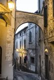 Amelia Umbria, Italy: historic town. Amelia Terni, Umbria, Italy: historic buildings in the old town. Typical street at evening stock photo