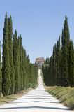 Amelia (Umbria, Italy) - Old villa and cypresses stock image