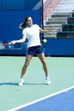Amelie Mauresmo practicing. New York US Open Grand Slam Tournament open practice day. Amelie Mauresmo of France royalty free stock photo