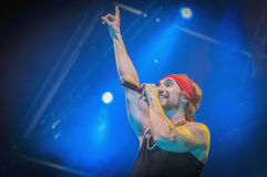 Amelie performs at the. BARCELONA - SEP 22: Spanish singer Macaco performs at the Hard Rock Rocks La Merce concert within La Merce celebrations on September 22 Stock Images