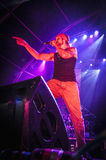 Amelie performs at the. BARCELONA - SEP 22: Spanish singer Macaco performs at the Hard Rock Rocks La Merce concert within La Merce celebrations on September 22 Royalty Free Stock Images