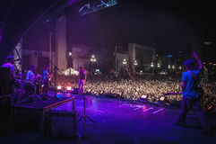 Amelie performs at the. BARCELONA - SEP 22: Spanish singer Macaco performs at the Hard Rock Rocks La Merce concert within La Merce celebrations on September 22 Royalty Free Stock Photos
