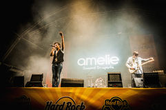 Amelie performs at the Hard Rock Rocks La Merce Stock Photo