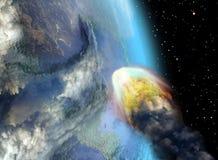 Amenaza del meteorito ilustración del vector