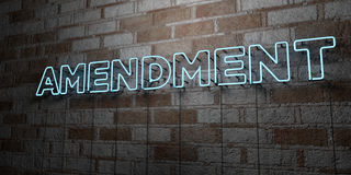 AMENDMENT - Glowing Neon Sign on stonework wall - 3D rendered royalty free stock illustration Stock Images