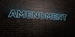 AMENDMENT -Realistic Neon Sign on Brick Wall background - 3D rendered royalty free stock image Stock Image