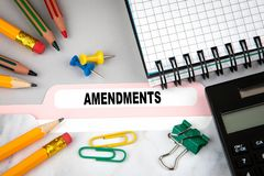 Amendments, business and law concept. Folder Register on desk Stock Photo