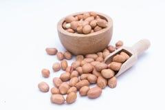 Amendoim na colher de madeira Imagem de Stock