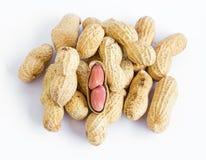 Amendoins no fundo branco Fotografia de Stock