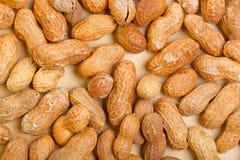 Amendoins nos shelles na tabela de madeira como um fundo Imagens de Stock Royalty Free