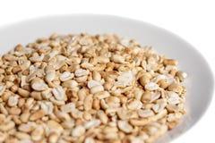 Amendoins Roasted em uma placa no fundo branco Fotografia de Stock Royalty Free