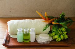 Amenities hotel. Accessories for bathroom and spa put on wood royalty free stock photos