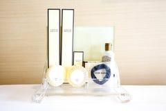 Amenities kit on shelf in bathroom. Amenities set stock image