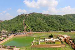 The Amer or Amber Fort overlooking Maota Lake and garden