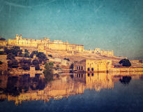 Amer (Amber) fort, Rajasthan, India. Vintage retro hipster style image of Famous Rajasthan landmark - Amer (Amber) fort, Rajasthan, India with grunge texture Stock Photos