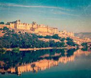 Amer (Amber) fort, Rajasthan, India. Vintage retro hipster style travel image of Famous Rajasthan landmark - Amer (Amber) fort, Rajasthan, India with grunge Royalty Free Stock Image