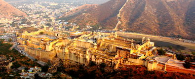 Amer Fort, aJaipur - a bird eye view. Amer Fort and Amer Village. This place is near Jaipur, Rajashthan, India Royalty Free Stock Photo