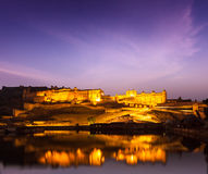 Amer Fort (Amber Fort) at night in twilight.  Jaipur, Rajastan, Stock Image