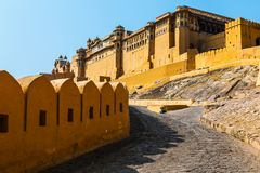 Amer Fort antique Route pavée en cailloutis Fort ambre Photos libres de droits